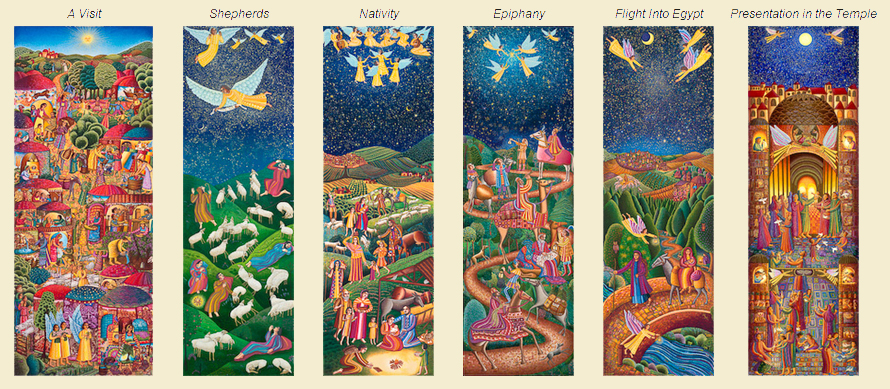 Birth Narrative: SHEPHERDS (1985), NATIVITY (1988), EPIPHANY (1988), A VISIT (1995), FLIGHT INTO EGYPT (2002), PRESENTATION IN THE TEMPLE (2004).